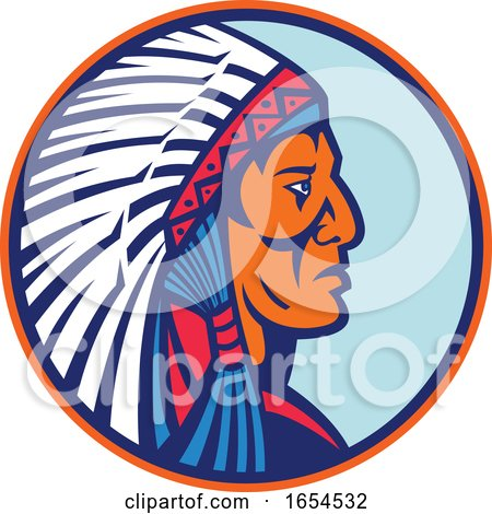 Old Native American Chief Headdress Circle by patrimonio