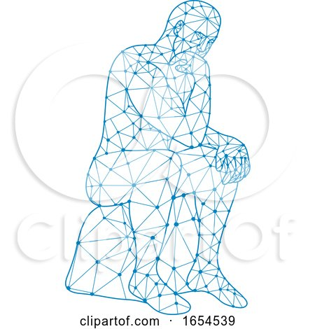 Nodes or Mosaic Low Polygon Style Illustration of a Future Man Sitting Thinking by patrimonio