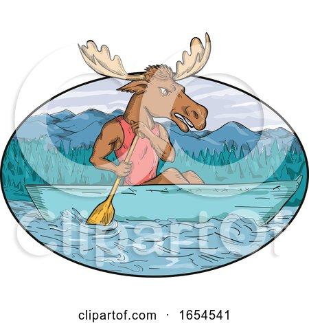Moose Paddling Canoe Drawing Oval by patrimonio