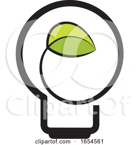 Light Bulb with a Green Leaf by Lal Perera