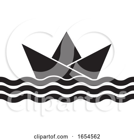 Black and White Floating Paper Boat by Lal Perera