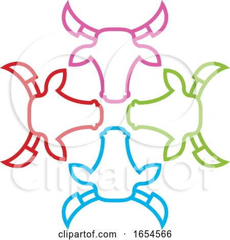 Colorful Bull Heads by Lal Perera