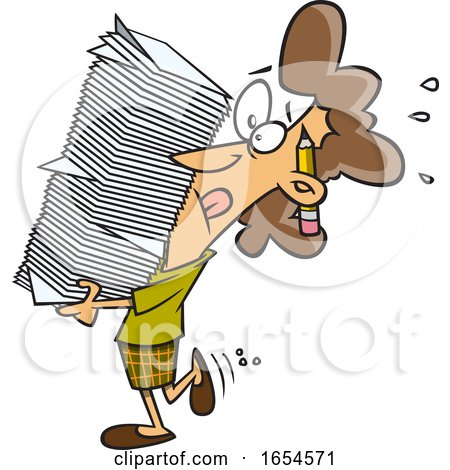 Cartoon White Business Woman Carrying a Heavy Stack of Paperwork by toonaday