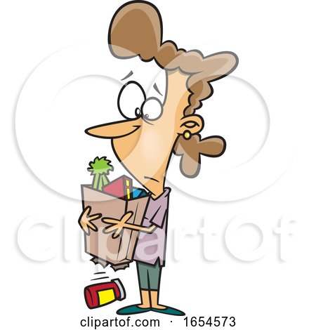 Cartoon White Woman with a Broken Grocery Bag by toonaday