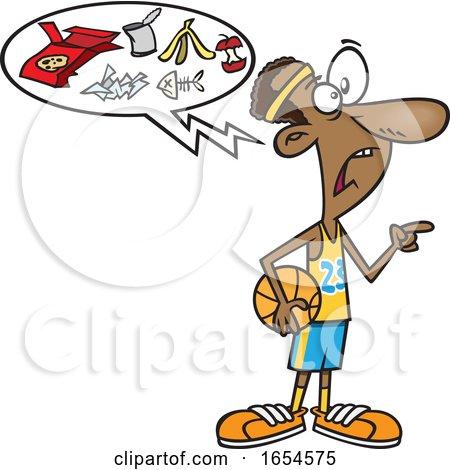 Cartoon Black Basketball Player Talking Trash by toonaday