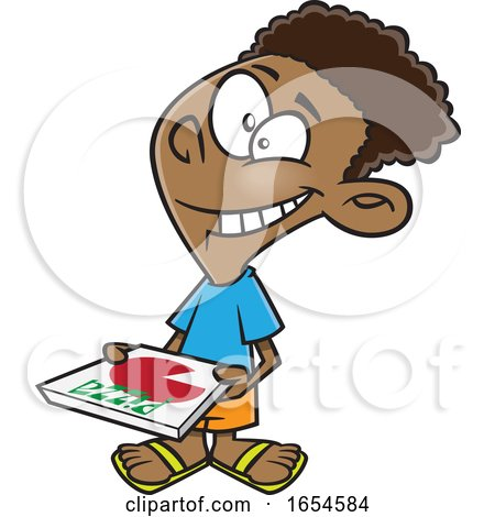 Cartoon Black Boy Carrying a Pizza Box by toonaday