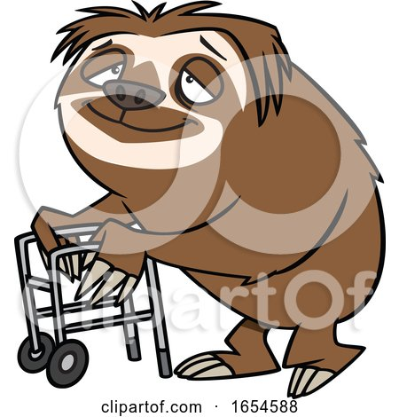 Cartoon Old Sloth Using a Walker by toonaday