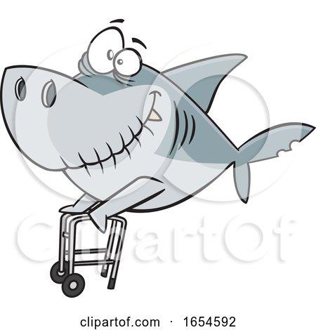 Cartoon Grandpa Shark with a Walker by toonaday