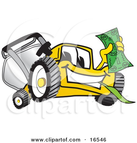 Clipart Picture of a Yellow Lawn Mower Mascot Cartoon Character Holding Cash by Toons4Biz