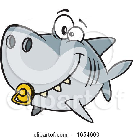 Cartoon Baby Shark with a Pacifier by toonaday