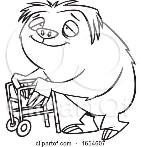 Cartoon Lineart Old Sloth Using a Walker by toonaday