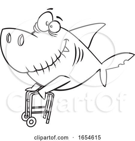Cartoon Lineart Grandpa Shark with a Walker by toonaday