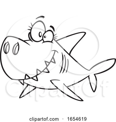 Cartoon Lineart Mommy Shark by toonaday