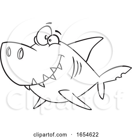 Cartoon Lineart Daddy Shark by toonaday