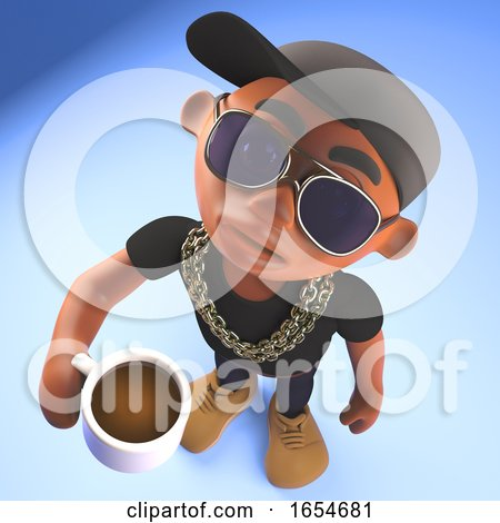 Thirsty Black Hiphop Rapper Drinking Coffee from a Mug, 3d Illustration Posters, Art Prints