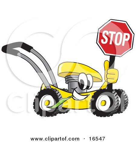 Yellow Lawn Mower Mascot Cartoon Character Holding a Stop Sign  Posters, Art Prints