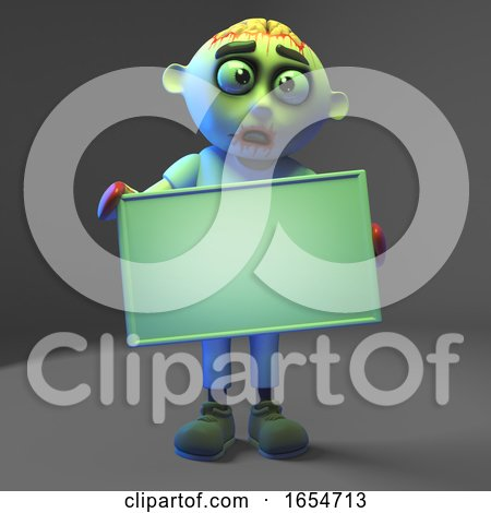 Silly Zombie Monster Has Forgotten to Write Something on His Blank Banner, 3d Illustration by Steve Young