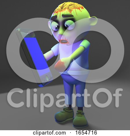 You Don't Need to Be a Smart Zombie Monster to Use a Smartphone, 3d Illustration by Steve Young