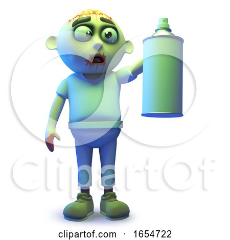 Scarey Undead Zombie Monster Using an Aerosol Spraycan, 3d Illustration by Steve Young