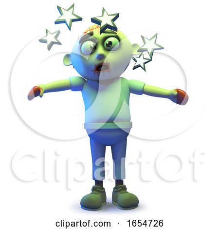 Cartoon Undead Zombie Monster Is so Dizzy He Sees Stars, 3d Illustration by Steve Young