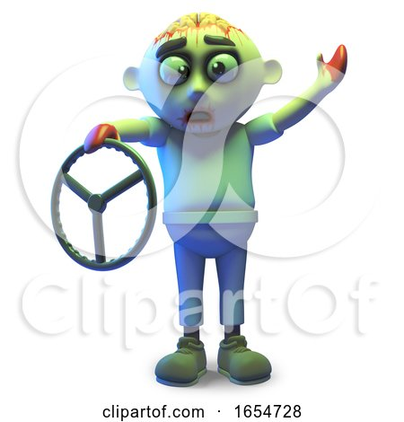 Stupid Zombie Monster Has Only Got a Steering Wheel, 3d Illustration by Steve Young