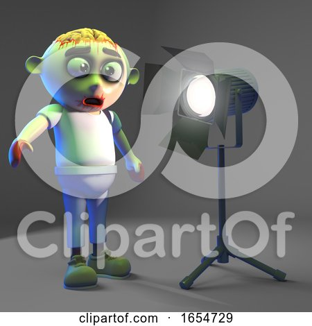 Silly Undead Zombie Monster Is Dazzled by the Spotlight, 3d Illustration by Steve Young