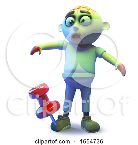 Funny Zombie Monster Has a Giant Tack in His Undead Foot, 3d Illustration by Steve Young