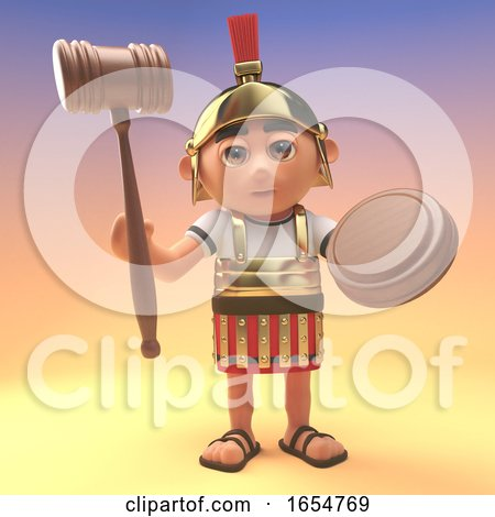 Funny Cartoon Roman Centurion Soldier Holding an Auction Gavel, 3d Illustration by Steve Young