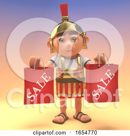 Roman Centurion Soldier Holding Shopping Bags After Visiting the Sale, 3d Illustration by Steve Young