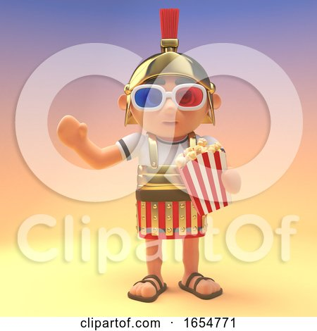 Roman Centurion Soldier Eating Popcorn and Wearing 3d Glasses, 3d Illustration by Steve Young