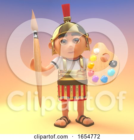 Cartoon Roman Centurion Soldier Holding a Paintbrush and Palette, 3d Illustration by Steve Young