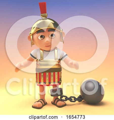 Bad Roman Centurion Soldier Wearing a Ball and Chain, 3d Illustration by Steve Young