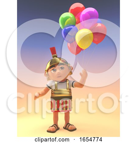 Roman Centurion Soldier Celebrating with Party Balloons, 3d Illustration by Steve Young