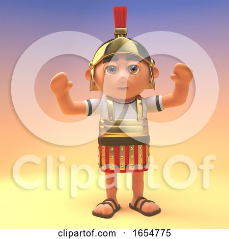 Cheering Roman Centurion Soldier with His Arms in the Air, 3d Illustration by Steve Young