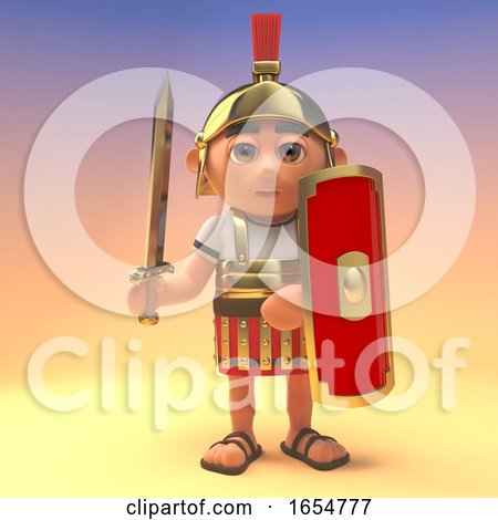 Ready for Battle Roman Centurion Soldier with Shield and Sword Drawn, 3d Illustration by Steve Young