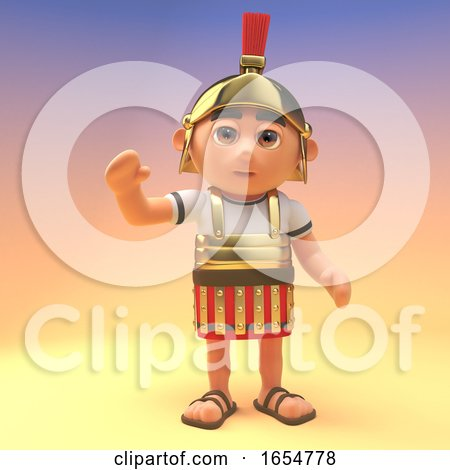 Cheerful Roman Centurion Soldier Waves a Friendly Hello, 3d Illustration by Steve Young
