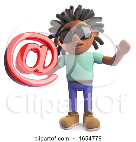 Cartoon Black Man with Dreadlocks Holding an Email Address Symbol, 3d Illustration by Steve Young