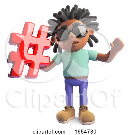 Cool Black African Man with Dreadlocks Holding an Email Address Symbol, 3d Illustration by Steve Young
