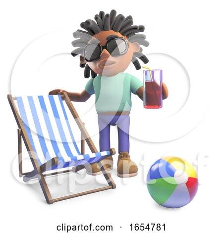 Relaxed Black Man with Dreadlocks on Holiday with Deckchair and Drink, 3d Illustration by Steve Young