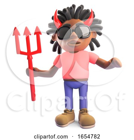 Black Man with Dreadlocks Wearing Devil Horns Holding a Trident, 3d Illustration by Steve Young