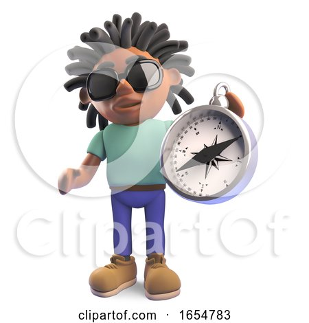 Black Man with Dreadlocks Holding a Magnetic Compass, 3d Illustration by Steve Young