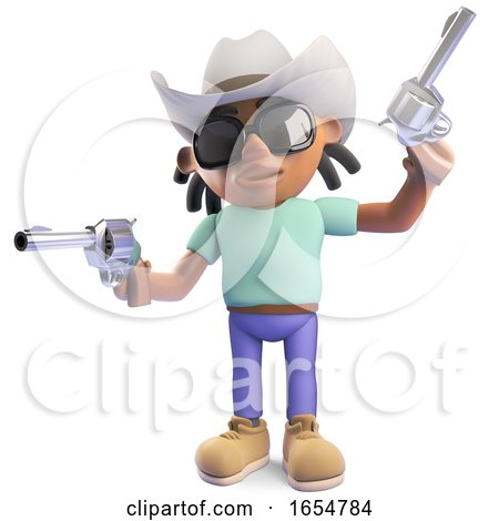 Cowboy Black Man with Dreadlocks Firing His Pistols, 3d Illustration by Steve Young