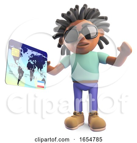 Cool Black Man with Dreadlocks Paying with a Debit Card, 3d Illustration by Steve Young