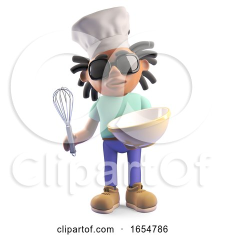 Cool Rasta Dreadlocks Man with Chef Hat and Mixing Bowl, 3d Illustration by Steve Young