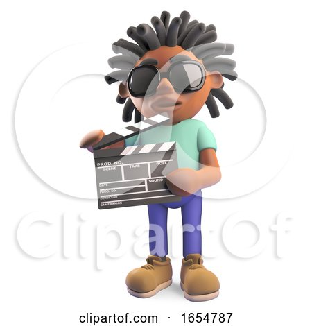 Black Man with Dreadlocks Making a Movie Holding a Film Slate, 3d Illustration by Steve Young