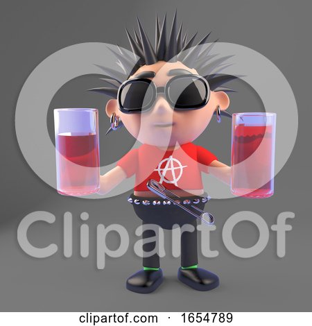 Cartoon Vicious Punk Rock Character Holding Two Drinks, 3d Illustration by Steve Young