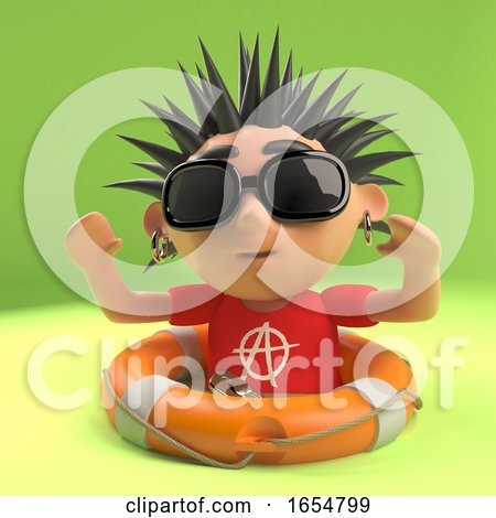 Vicious Punk Rocker Has Been Saved from Drowning with a Life Ring, 3d Illustration by Steve Young