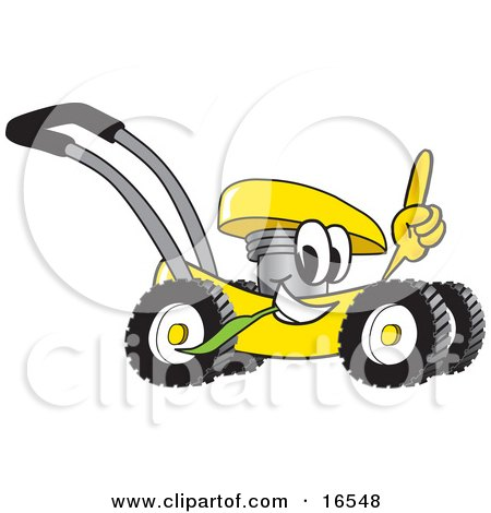 Clipart Picture of a Yellow Lawn Mower Mascot Cartoon Character Passing by and Pointing Upwards by Toons4Biz