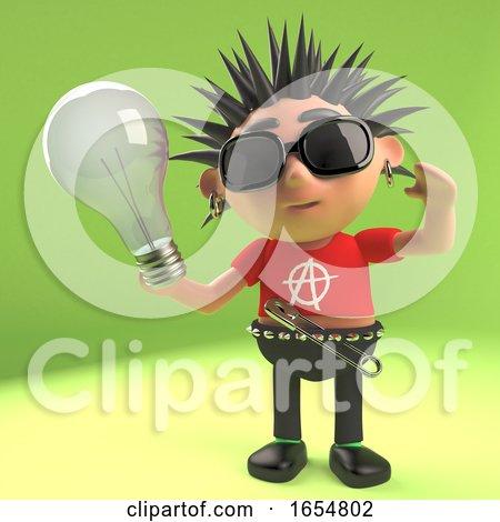 Crazy Punk Rocker Holding a Lightbulb, 3d Illustration by Steve Young