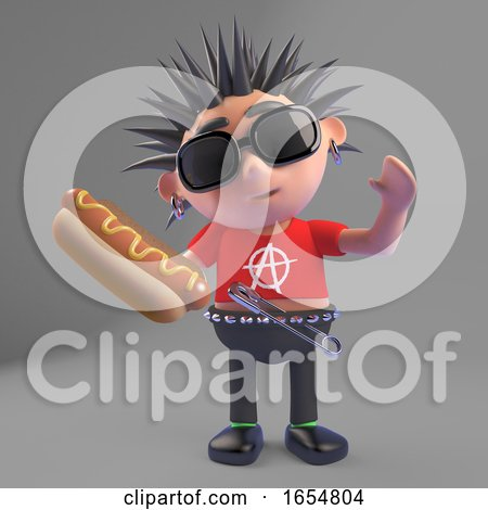 Hot Dog Says Vicious Punk Rocker Character, 3d Illustration by Steve Young